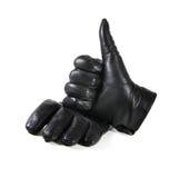 Mężczyzna ` s czarne rzemienne rękawiczki na białym tle Obrazy Stock