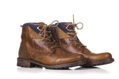 Mężczyzna ` s klasyczni brown rzemienni buty odizolowywający na białym tle Zdjęcie Royalty Free