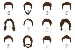 Mężczyzna ` s moda, sylwetka, styl, set brody, ilustracja Zdjęcie Royalty Free