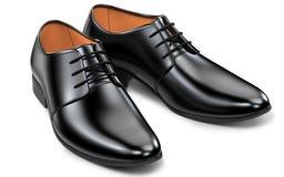 Mężczyzna ` s mody butów czerń, klasyczny projekt Para waleczny butów 3d rendering odizolowywający na białym tle ilustracji