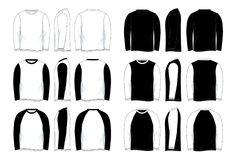 Mężczyzna ` s Pustego Czarny I Biały Długiego rękawa Raglanowy Koszulowy szablon ilustracja wektor