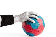 Mężczyzna ` s ręka na Handball Obraz Royalty Free
