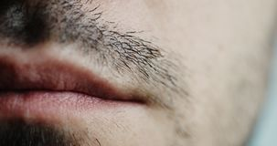 Mężczyzna ` s skrótu wąs i wargi zbliżenie zbiory