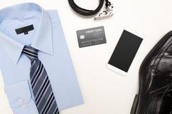Mężczyzna ` s stroje z błękitną koszula Odzieżowy sklep Fotografia Stock