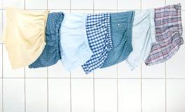 Mężczyzna ` s wytyczne ważenie w łazience na arkanie suszyć Majtasy f Obrazy Royalty Free