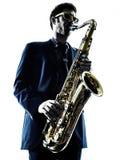 Mężczyzna saksofonista bawić się saksofonowego gracza Zdjęcie Stock