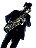 Mężczyzna saksofonista bawić się saksofonowego gracza Obraz Stock