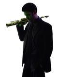 Mężczyzna saksofonista bawić się saksofonowego gracza sylwetkę Fotografia Stock