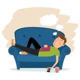 Mężczyzna sen na kanapie ilustracja wektor
