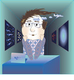 Mężczyzna sen naukowiec ilustracja wektor