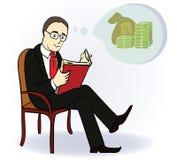 Mężczyzna sen o pieniądze Pojęcie kreskówka Zdjęcia Royalty Free
