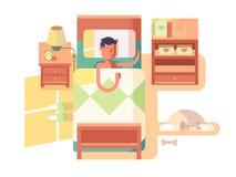 Mężczyzna sen w łóżku ilustracja wektor