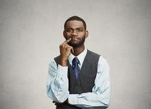 Mężczyzna skeptic, zmieszany, główkowanie Zdjęcia Stock