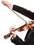 Mężczyzna skrzypaczka bawić się skrzypce Muzyki klasycznej sztuka Zdjęcia Royalty Free