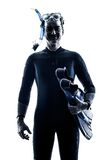 Mężczyzna Snorkelers Snorkeling sylwetka odizolowywająca Zdjęcie Stock
