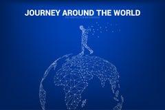 Mężczyzna spacer na 3D światowej mapy kuli ziemskiej wireframe wieloboka kropce łączy linię: pojęcie podróż, światowy związek royalty ilustracja