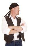 Mężczyzna spojrzenia ręka składająca kryjąca armatnia strona Fotografia Stock