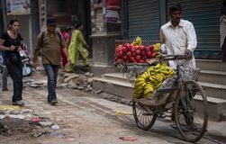 Mężczyzna sprzedaje banany i jabłka na rowerze Fotografia Royalty Free