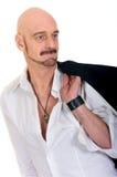 mężczyzna starzejący się łysy środek obraz stock