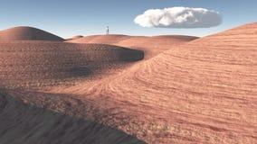 Mężczyzna stojaki w skały pustyni fotografia stock