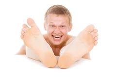 Mężczyzna stopa, palec u nogi, cieki Zdjęcie Stock