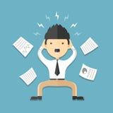 Mężczyzna stres na pracy mieszkania ikonie Obrazy Royalty Free