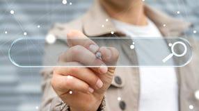 Mężczyzna surfing na internecie używać dotykowego sieć adresu baru 3D renderi Obrazy Stock