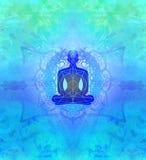 Mężczyzna sylwetka medytuje, joga royalty ilustracja