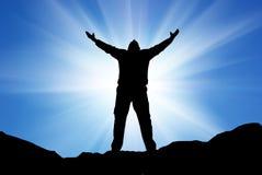 mężczyzna sylwetki światło słoneczne Zdjęcia Stock