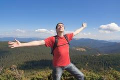 mężczyzna szczęśliwa góra fotografia stock