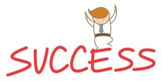 Mężczyzna szczęśliwy doskakiwanie na górze sukcesu Fotografia Royalty Free