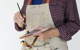 Mężczyzna Szczotkarskiego rysunku koloru palety sztuk studia portret Obrazy Royalty Free