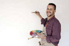 Mężczyzna Szczotkarskiego rysunku koloru palety sztuk studia portret Obraz Stock