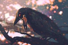 Mężczyzna szepcze dużej wrony na gałąź ilustracja wektor