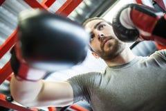 Mężczyzna szkolenie z bokserskimi rękawiczkami obrazy royalty free
