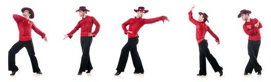 Mężczyzna tanczy hiszpańskich tanów na bielu Obrazy Stock