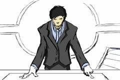 Mężczyzna target845_0_ przy biurkiem Obraz Royalty Free