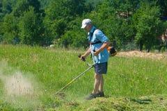 Mężczyzna tnąca trawa z drobiażdżarką Obrazy Royalty Free