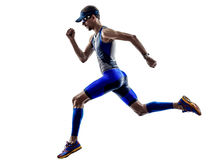 Mężczyzna triathlon żelaza mężczyzna atlety biegaczów biegać Obrazy Royalty Free