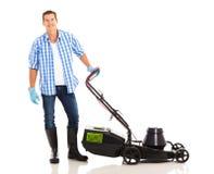 Mężczyzna trwanie lawnmower Obraz Royalty Free