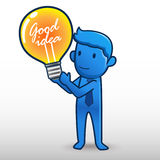 Mężczyzna trzyma żarówka Dobrego pomysł ilustracja wektor