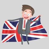 Mężczyzna trzyma dużą flaga UK ilustracja 3 d ilustracji