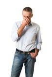 Mężczyzna trzyma jego nos przez sinus bólu Obraz Stock