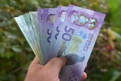 Mężczyzna trzyma Kucbarskich wysp dolara i Nowa Zelandia banknoty Obrazy Royalty Free