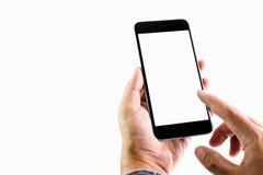 Mężczyzna trzyma smartphone pustego ekran Bierze twój ekran stawiać dalej reklamować obraz royalty free