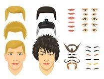 Mężczyzna twarzy emocj konstruktor rozdziela oczy, nos, wargi, broda, wąsy avatar twórcy postać z kreskówki wektorowy tworzenie royalty ilustracja