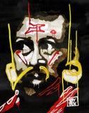 Mężczyzna twarzy portret - klajstrujący papier, miastowa sztuka obraz royalty free