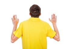 Mężczyzna Tylni widok z rękami Up zdjęcie stock