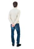 mężczyzna tylny widok Trwanie młody facet Zdjęcie Stock