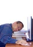 Zmęczony komputerowy facet Fotografia Royalty Free